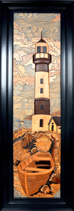 3d wooden art/Lighthouse - Tablo,  78,7x31,5x1,6 in, ©2017 3d Art Studio (Semih Çelebi) tarafından -                                                                                                                                                                                                                                                                                                                                                                                                                                                                                                                                                                                          Illustration, illustration-600, Deniz Manzarası, Doğa, Gemi, Fantezi, art, design, life, lifestyle, contemporary, Woodart