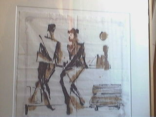 La conversation - Drawing,  23.6x27.6 in, ©2008 by Smaïl Oulebsir -