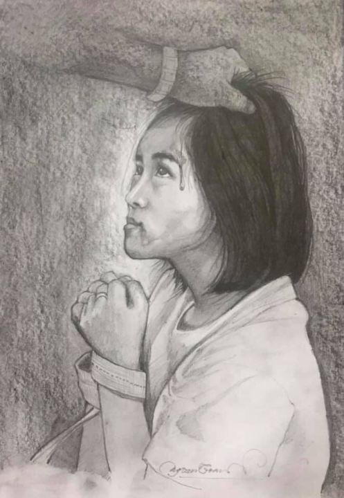 """Painting titled """"Girl with domestic…"""" by Smith Brittney, Original Art, Pencil"""