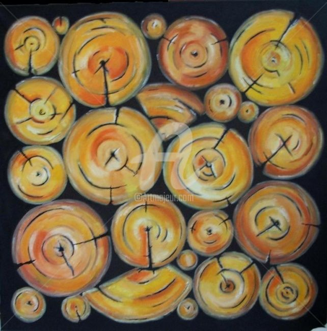 """Painting titled """"yellow firewood"""" by Cj.Sodder, Original Art, Oil"""