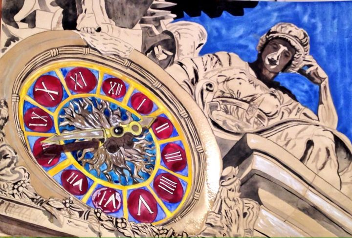 nyc clock - Painting,  19.7x31.5 in, ©2014 by Sofia -                                                                                                                                                                                                                                                                                                                                                                  Figurative, figurative-594, Other, Paper, Architecture, horloge, new york