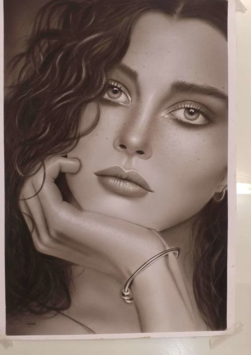 """Drawing titled """"Ma first  girl arti…"""" by Sougand Mh, Original Art, Charcoal"""