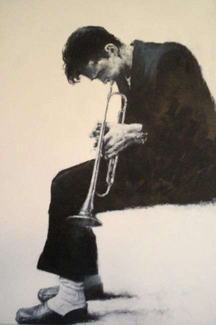 Chet Baker - Painting,  31.9x21.3 in, ©2009 by Sojo -