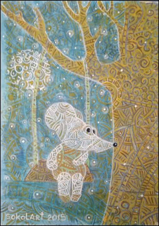 The autumn evening. Alisa waits Jack. - Printmaking,  34x25x0.1 cm ©2015 by Svetlana Sokol -                                                                                                                                    Art Nouveau, Paper, Seasons, Tree, Children, Home, Spirituality, Animals, Interiors, pictures for childs room., pictures, funny picture, gift, gift for child