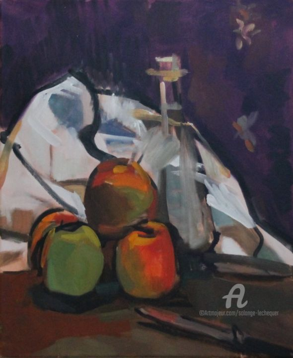 Pommes, carafe et torchon - Painting,  18.1x15x0.7 in, ©2015 by CHéKER -                                                                                                                                                                                                                                                                                                                                                                                                                                                                                                                                                                                          Figurative, figurative-594, Still life, pommes, torchon, carafe, impressionnisme, figuratif, Chéker peintre, Chéker, Solange le chequer, nature morte