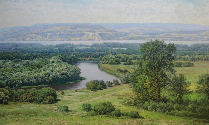 Спокойствие великой реки - Painting,  60x100x2.5 cm ©2019 by Andrey Soldatenko -                                                                                                        Realism, Canvas, Water, Seasons, Tree, Landscape, Nature