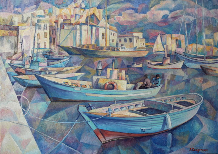 Гавань - Painting,  19.7x27.6x1 in, ©2019 by Andrey Soldatenko -                                                                                                                                                                                                                                                                  Cubism, cubism-582, Boat, Seascape, Landscape