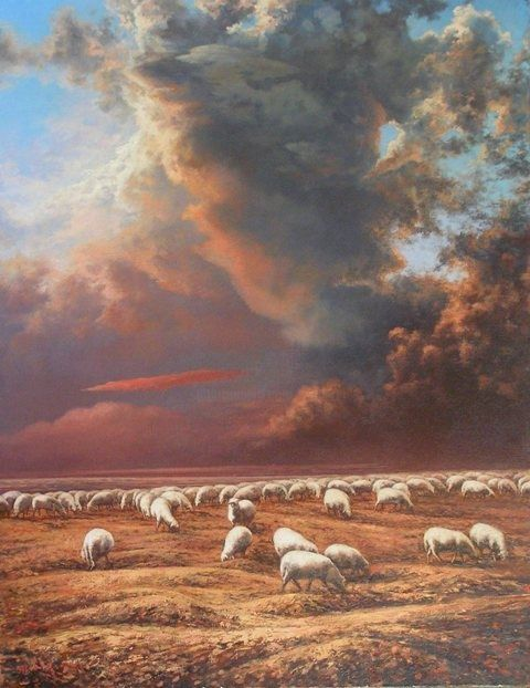 Sheep. Alarm - Painting,  35.4x27.6 in, ©2006 by Andrey Soldatenko -                                                              landscape clouds sky grass anxiety