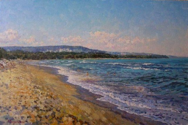 City Beach - Painting,  15.8x23.6 in, ©2009 by Andrey Soldatenko -                                                                                                                                                                                                                                                                                                                                                                                                                                                                                                                                                                                                                                                                                                                                                                      Figurative, figurative-594, summer, beach, coast, black sea, wave, people are sand, sun, the sky is the heat, coast, painting, realism, buy, Russian contemporary artist, the Russian school of painting