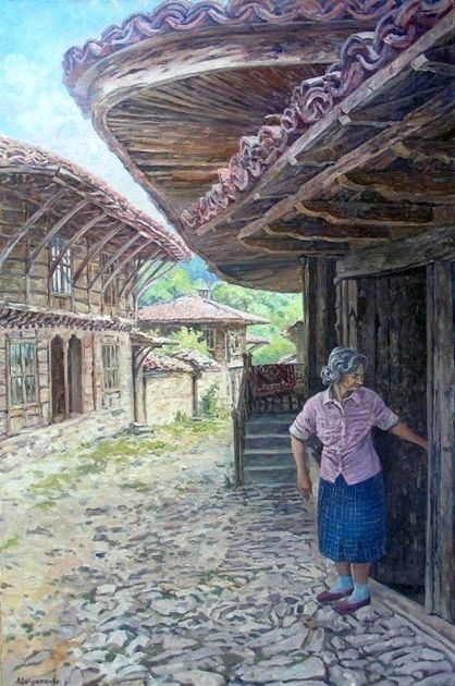 Quiet breathing - Painting,  35.4x23.6 in, ©2010 by Andrey Soldatenko -                                                                                                                                                                                                                                                                                                                                                                                                                                                                                                                                                                                                                                                                                                                          Figurative, figurative-594, old house, wooden house, Bulgaria, the foothills, the village, countryside, rural landscape, the old lady, street, door, carpet, Russian contemporary artist, painting
