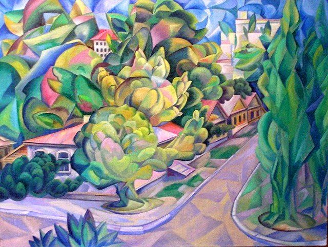 Green street - Painting,  23.6x31.5 in, ©2006 by Andrey Soldatenko -                                                                                                                                                                                                                                                                                                                                                                                                                                                                                                                                                                                                                                                                                                                                                                      Abstract, abstract-570, Vanguard, countryside, village, trees, a small town, street, house, old house, wood, clouds, sky, art, Russian contemporary artist, buy