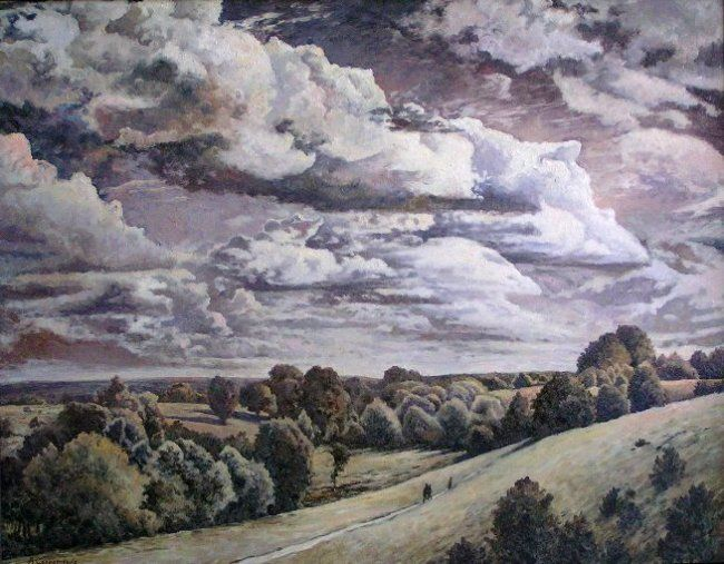 Clouds - Painting,  27.6x35.4 in, ©2009 by Andrey Soldatenko -                                                                                                                                                                                                                                                                                                                                                                                                                                                                                                                                                                                                              distance, space, steppe, forest, tree, sky, clouds, lonely travelers, green, day, the Russian school of painting, buy paintings, Russian contemporary artist