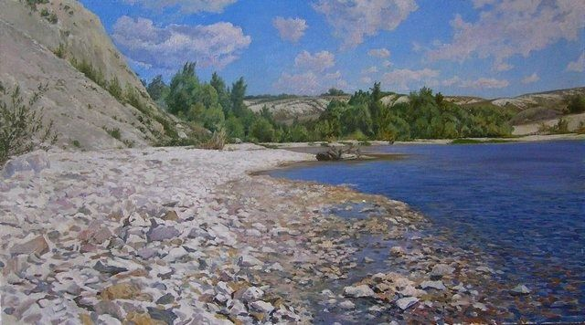 Stones. River. Clouds - Painting,  17.7x31.5 in, ©2008 by Andrey Soldatenko -                                                                                                                                                                          Figurative, figurative-594, Riverside coast mountain forest cliff wind sky realism Russian school sun sky clouds steppe forest trees realism rural mestnot Russian school of painting Russian contemporary artist elite prestige luxury gift