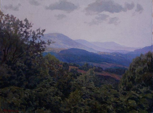 Foothills Balkans - Painting,  17.7x23.6 in, ©2010 by Andrey Soldatenko -                                                                                                                                                                          Figurative, figurative-594, mountain green hills of the forest trees summer sky horizon solneyanpeyzazh Russian school of painting of Russian contemporary artist elite prestige luxury gift