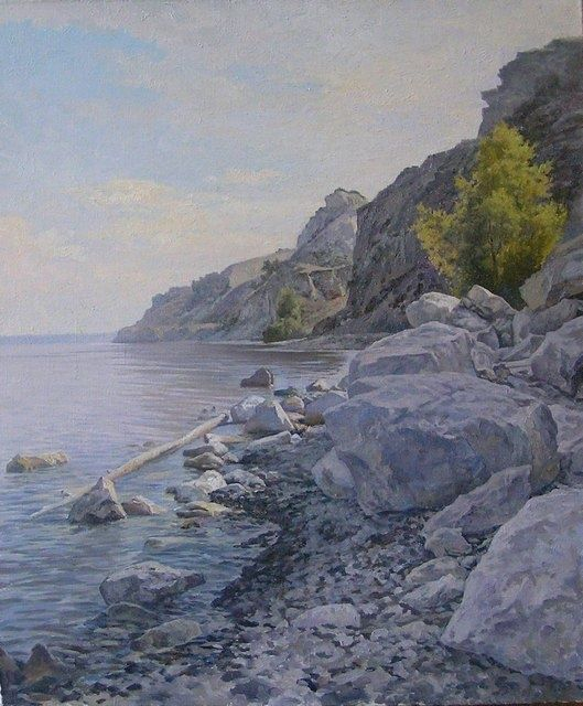 Stones on the Volga bank - Painting,  50x60 cm ©2008 by Andrey Soldatenko -                            Realism, river water rock river bank cloudy cliffs day shadow eyzazh Russian school of painting Russian contemporary artist elite luxury gift prestige