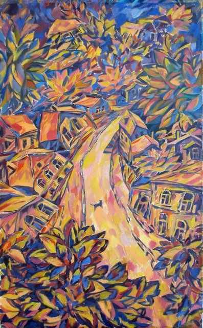 Above a town - Painting,  31.5x19.7 in, ©2005 by Andrey Soldatenko -                                                                                                          evening at home street trees, street cat vanguard summer landscape painting of the Russian school of Russian contemporary artist luxury gift prestige elite