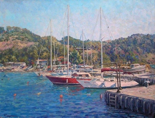 Trakata. Bulgaria - Painting,  19.7x25.6 in, ©2010 by Andrey Soldatenko -                                                                                                                                                                          Figurative, figurative-594, Sea landscape painting to buy a wave of boat boats boats ashore coast forest mountain sky sunny day summer holiday gift exclusive luxury