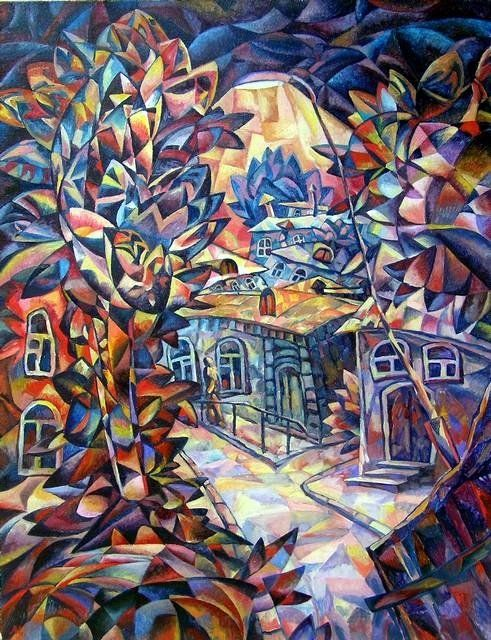 Town street - Painting,  25.6x19.7 in, ©2010 by Andrey Soldatenko -                                                              avant-garde landscape painting cubism modern art Russian contemporary artist man nocturnal city trees houses old town