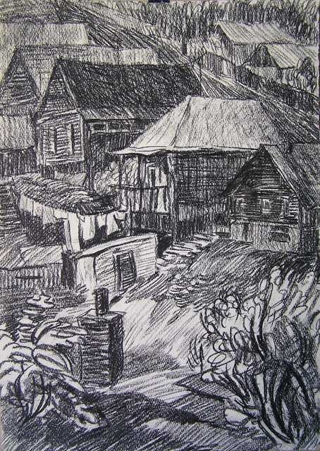 Courtyards - Drawing,  16.9x11.8 in, ©1996 by Andrey Soldatenko -                                                                                                                                                          Black and White, drying clothes on a vervke in the yard, a fence of wooden old home town outskirts drawing graphics