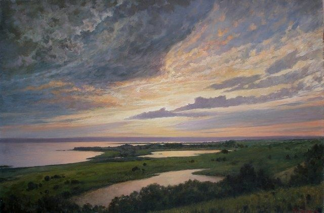 Sunset - Painting,  23.6x35.4 in, ©2010 by Andrey Soldatenko -                                                                                                                                                                          Figurative, figurative-594, landscape landscapes water river river bank Volga riverside green grass sky cloud sunlight realism