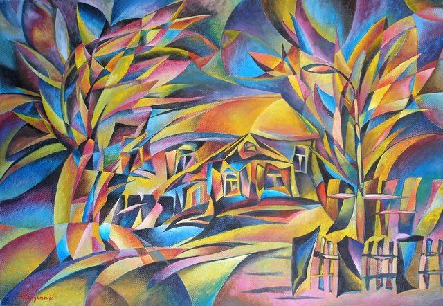 Gold evening - Painting,  27.6x39.4 in, ©2010 by Andrey Soldatenko -                                                                                                                                                                                                                                                                                                                                                                                                                                                                                                                      avant-garde, experiment, trees, tree, house, houses, abstract art, geometric art, decor for interior, sunlight, jazzy and alive
