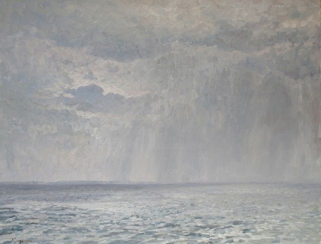 Rain under the Volga - Painting,  27.6x35.4 in, ©2011 by Andrey Soldatenko -                                                                                                                                                                                                                                                                                                                                                                                                                                                                                                                                                                                                                                                                                                                                                                                                                                                              Figurative, figurative-594, landscape, landscapes, river, volga, wind, rain, impressionism, water, country life, rural life, clouds, storm-clouds, nature, realism, painting, andrey soldatenko