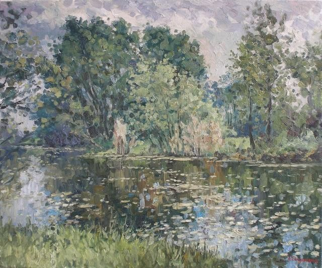 Trees near the water. Etude - Painting,  60x50 cm ©2011 by Andrey Soldatenko -                            Figurative Art, nature, painting, landscape, landscapes, river, water, realism, impressionism, rural-life, country-life, tree, trees, green, forest, reflection, reflections
