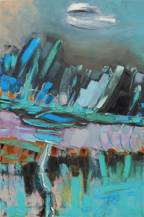 Night Mountains - Painting,  35.4x23.6x0.8 in, ©2018 by Andrew Shengelia -                                                                                                                                                                                                                                                                                                                                                                                                                                                                                                                                                                                          Abstract, abstract-570, Mountainscape, Landscape, impasto, impasto oil, original painting, impasto painting, large painting, expressive painting, relax painting, large abstract