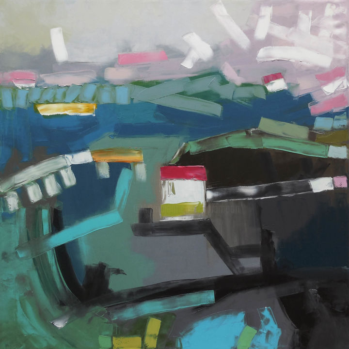 Chakvi Train Station - Painting,  35.4x35.4x0.8 in, ©2018 by Andrew Shengelia -                                                                                                                                                                                                                                                                                                                                                                                                                                                                                                                                                                                          Abstract, abstract-570, Abstract Art, Architecture, Geometric, Cityscape, Home, impasto, oil, painting, large painting, landscape painting
