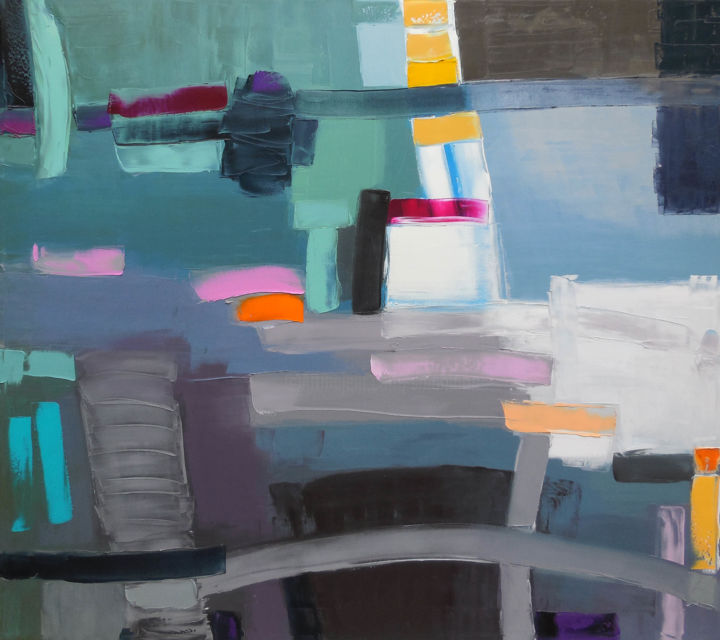 Tomorrow's Night - Painting,  31.5x35.4x0.8 in, ©2018 by Andrew Shengelia -                                                                                                                                                                                                                                                                                                                                                                                                                                                                                                                                              Abstract, abstract-570, Abstract Art, Geometric, Cityscape, Home, impasto, oilpainting, oil painting, abstract landscape, large painting