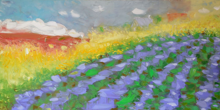 Lavender field - Painting,  60x120x2 cm ©2016 by Elena Lunetskaya and Andrew Shengelia -                                                                                                            Impressionism, Land Art, Contemporary painting, Canvas, Seasons, Places, Landscape, impasto, oil, painting, landscape, violet, green, large, forest, village