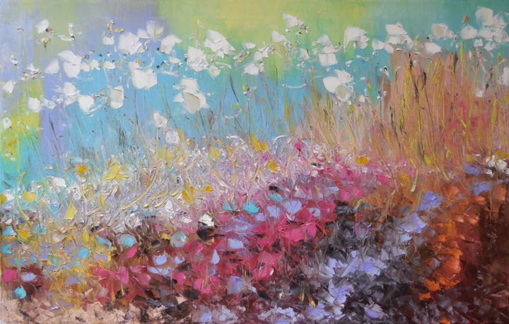 Autumn Melody - Painting,  70x110x2 cm ©2016 by Elena Lunetskaya and Andrew Shengelia -                                                                                                                        Abstract Art, Impressionism, Contemporary painting, Canvas, Abstract Art, Nature, Garden, Colors, impasto, oil, painting, garden, floral, flowers, alla prima, canvas art, impressionism, color