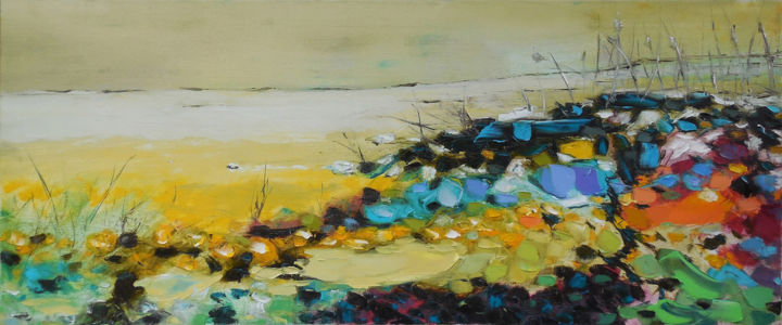 Wild Beach - Painting,  50x120x2 cm ©2016 by Elena Lunetskaya and Andrew Shengelia -                                                                                                                                    Figurative Art, Minimalism, Contemporary painting, Canvas, Botanic, Time, Landscape, Beach, Nature, impasto, oil, painting, beach, alla prima, yellow, nature