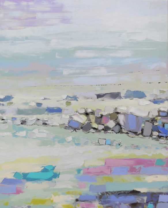 White Sea Tide - Painting,  41.3x33.5x0.8 in, ©2017 by Andrew Shengelia -                                                                                                                                                                                                                                                                                                                                                                                                                                                                                                                                                                                                                                      Abstract, abstract-570, Abstract Art, Seasons, Seascape, Landscape, impasto, oil, painting, landscape, sea, water, stones