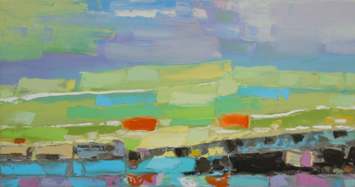 Shining valley - Painting,  50x95x2 cm ©2017 by Elena Lunetskaya and Andrew Shengelia -                                                                                                                                                            Abstract Art, Figurative Art, Impressionism, Minimalism, Contemporary painting, Canvas, Botanic, Landscape, Nature, Rural life, Colors, impasto, oil, painting, village, grass, country, farm, green, color, orange, palette knife, alla prima, palette knife painting