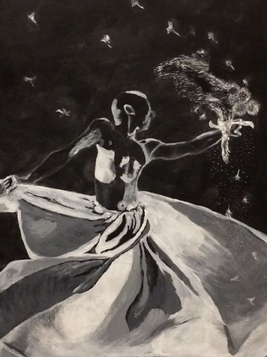 """Painting titled """"Dancing with Dandel…"""" by Soloni Freitas, Original Art, Acrylic"""
