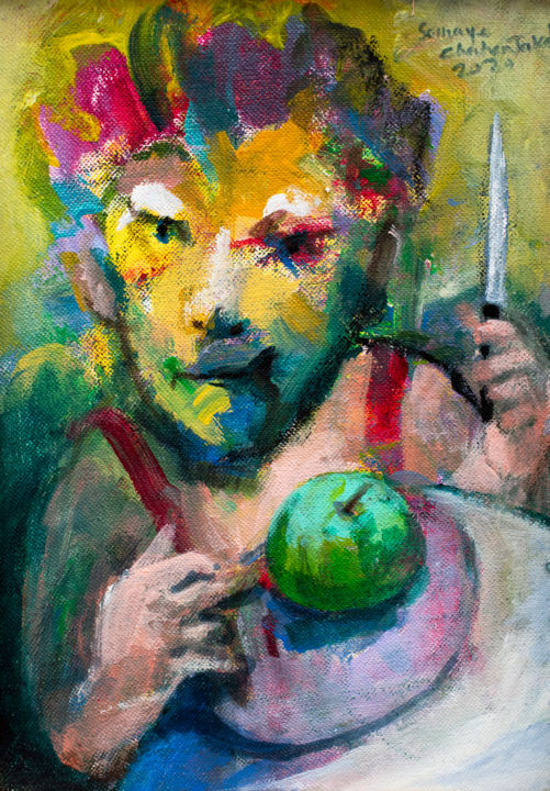 """Painting titled """"Bring you an apple…"""" by Somayeh Chahr Takab, Original Art, Acrylic"""