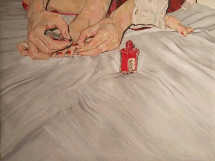 Nail and Polish - Painting,  80x60x5 cm ©2017 by Somayeh Faal -                                                            Figurative Art, Canvas, Women, erotic, woman, painting, acrylic, iran_artist, contempory_art