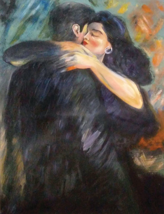 """Painting titled """"Le calin"""" by Somayeh Hatamzadeh, Original Art, Oil"""