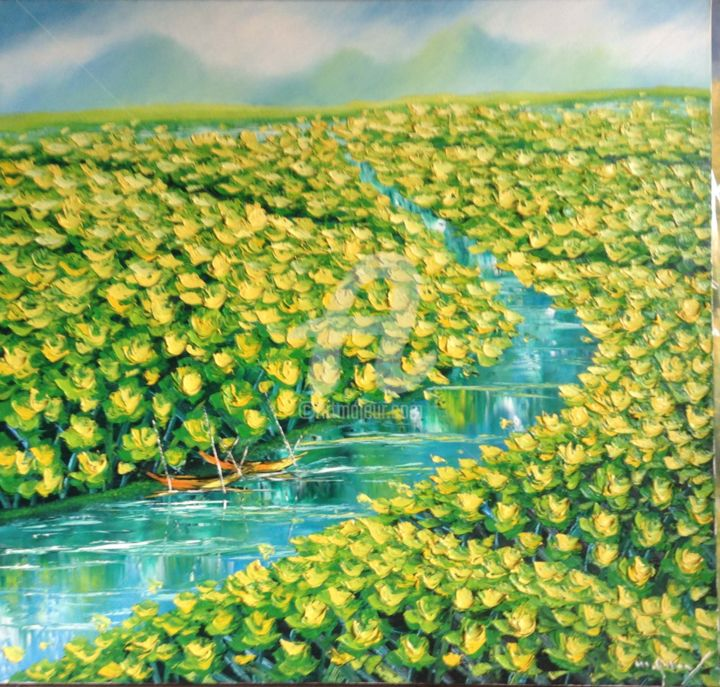 """Painting titled """"Shimmering beauty m…"""" by Son Nguyen Minh, Original Art, Oil"""