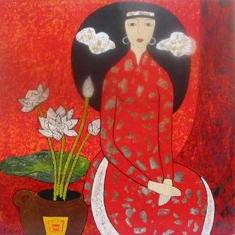 """Painting titled """"Lacquer"""" by Nguyen Nhu Y, Original Art,"""