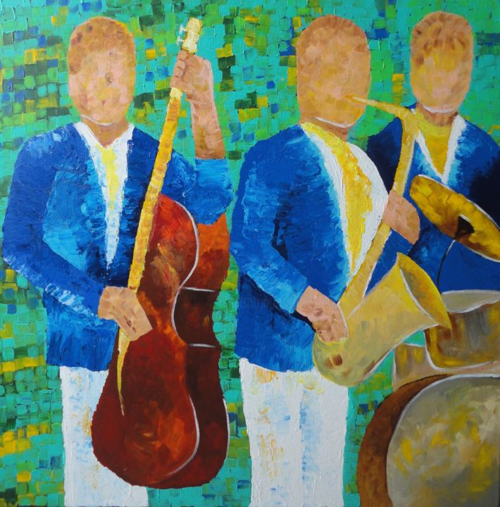 Blue Music Band - Painting,  30x30x1 in, ©2018 by Amita Dand -                                                                                                                                                                                                                                                                                                                                                                                                                                                                                                  Abstract, abstract-570, Music, jazz, music, guitar, band, blue, abstract, music lover