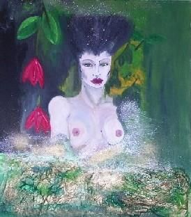 Deep Forest Fantasy - Painting,  31.5x27.6 in, ©2005 by Sonia Rhea -