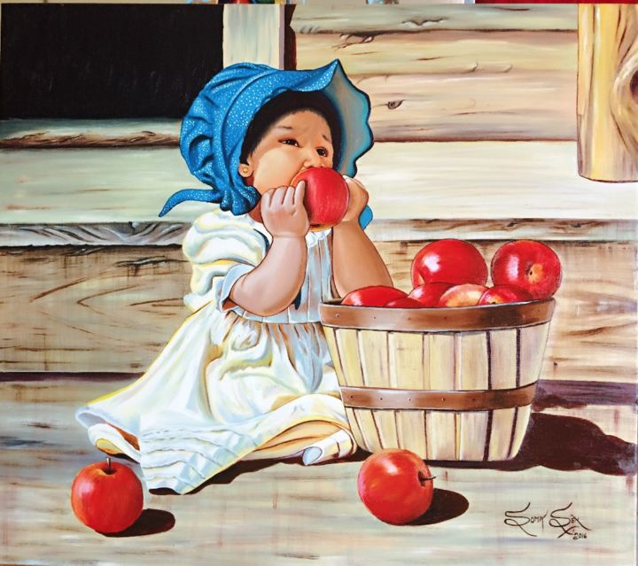 """Painting titled """"Curiosity of A Child"""" by Soma Sen, Original Art, Acrylic"""
