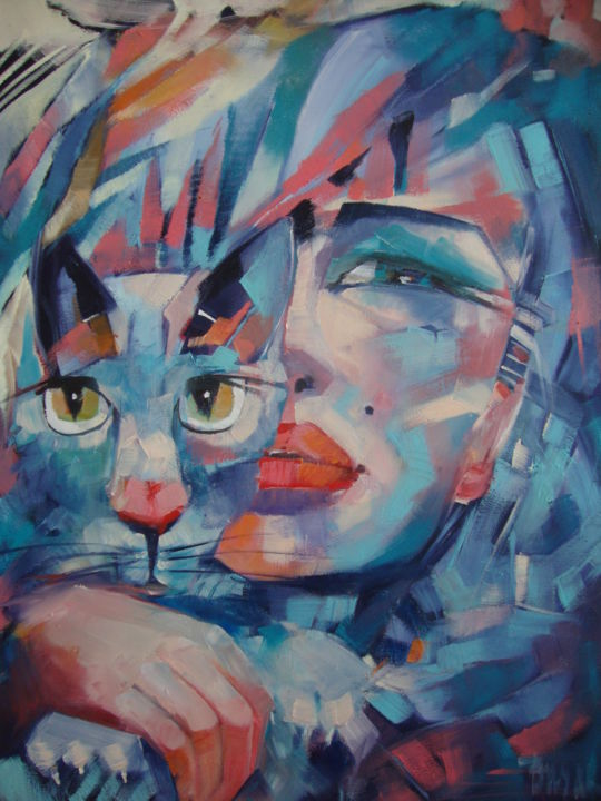 SHE AND THE CAT - Painting,  80x60x1 cm ©2019 by Sonja Brzak -                                                        Contemporary painting, Cats, Women, oil painting, arssonniya art, canvas art, blue cat, women