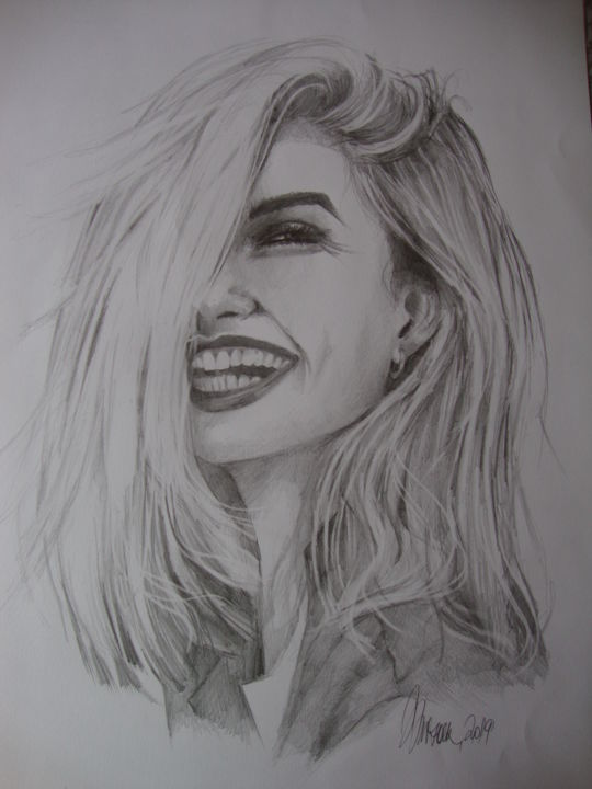 """Drawing titled """"HAPPINESS"""" by Sonja Brzak, Original Art, Pencil"""
