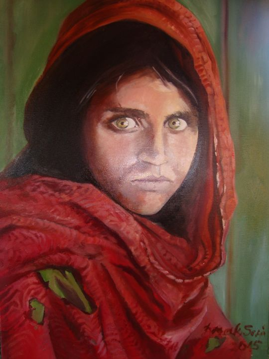 AFGHAN GIRL - Peinture,  23,6x15,8x0,4 in ©2017 par Sonja Brzak -                                            Art figuratif, Femmes, acrylic, painting, arssonniya art, canvas art, figurative art, women