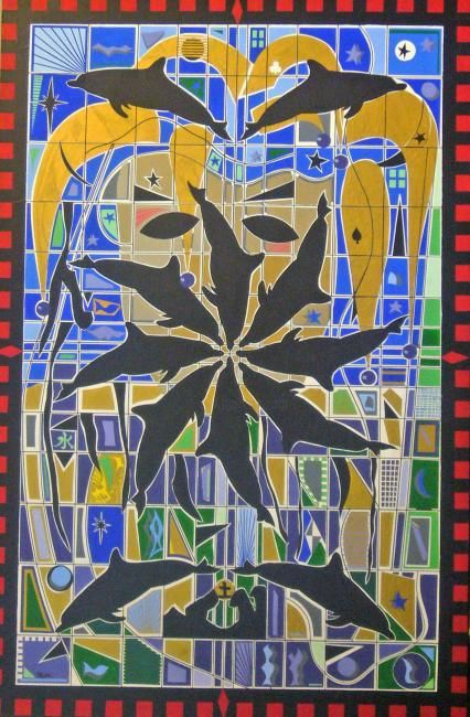 """Painting titled """"Dolphin Jester"""" by Sonofmatisse, Original Art,"""