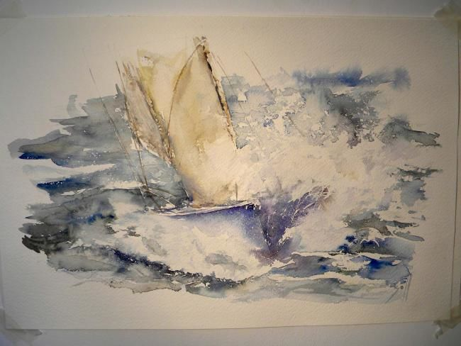 voile 6 - Painting,  15.8x19.7 in, ©2009 by Argane Sopher -