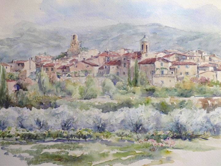Le village Lourmarin - Painting,  23.6x27.6 in, ©2016 by Argane Sopher -